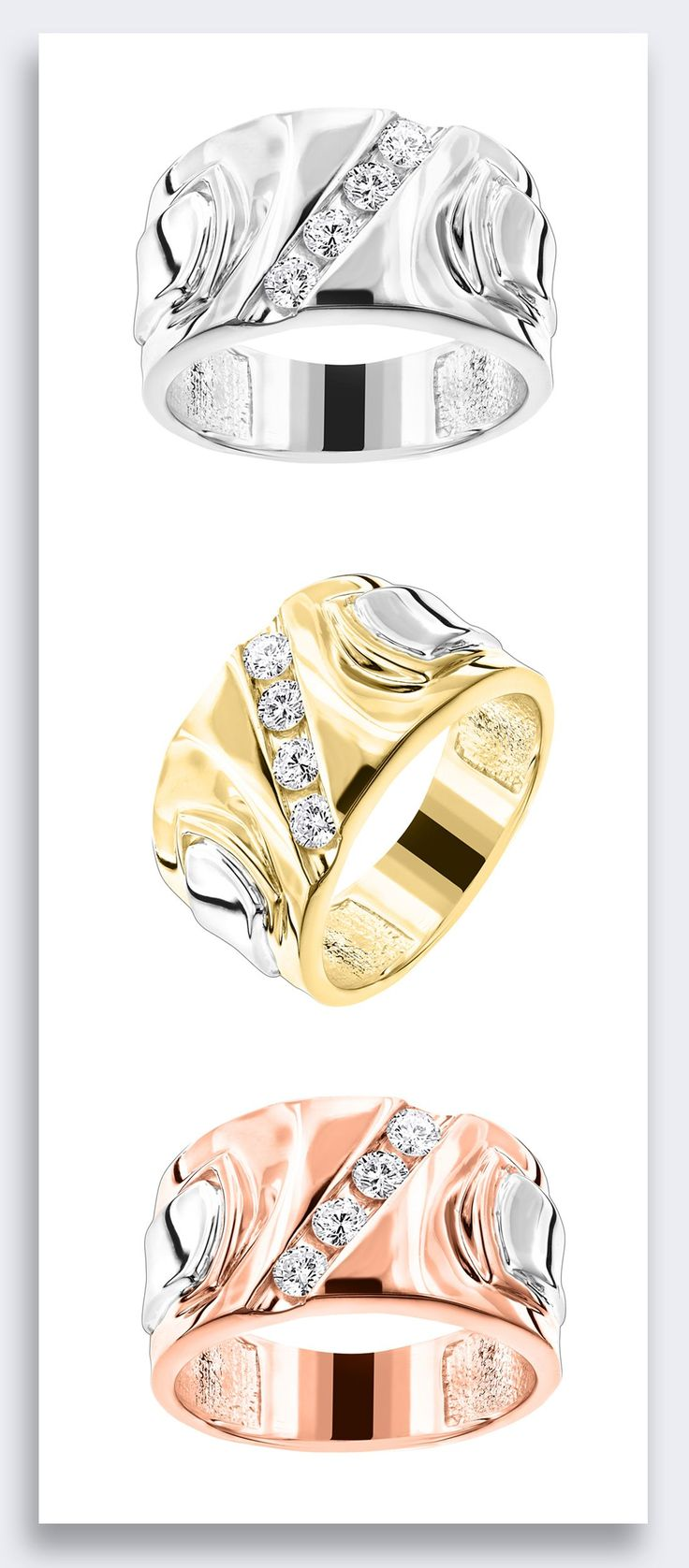 This one of a kind Luccello Brand 18K Gold Mens Designer Diamond Ring showcases 4 dazzling high quality G/VS round diamonds totalling 1/2 carat, each diagonally channel-set in a lustrous gold frame.