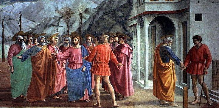 """""""El pago del tributo"""" por Massaccio. fue un pintor cuatrocentista italiano. A pesar de la brevedad de su vida, su obra tuvo una importancia decisiva en la historia de la pintura: generalmente se considera que fue el primero en aplicar a la pintura las leyes de la perspectiva científica, desarrolladas por Brunelleschi."""