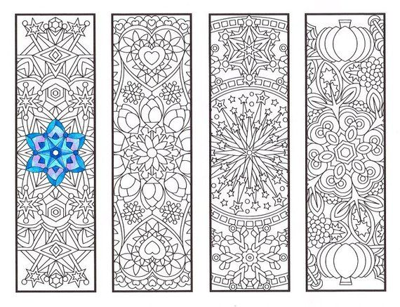 Coloring Bookmarks Cool Weather Mandalas Coloring Page For Adults Kids And Bookworms Four Print Coloring Bookmarks Coloring Pages Mandala Coloring Books