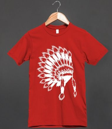 White Indian Headdress On Red Fitted Tee Shirt
