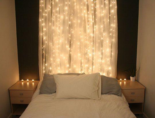 Beautiful Light Curtain! - DIY - Simple sheer curtain + xmas lights hanging behind
