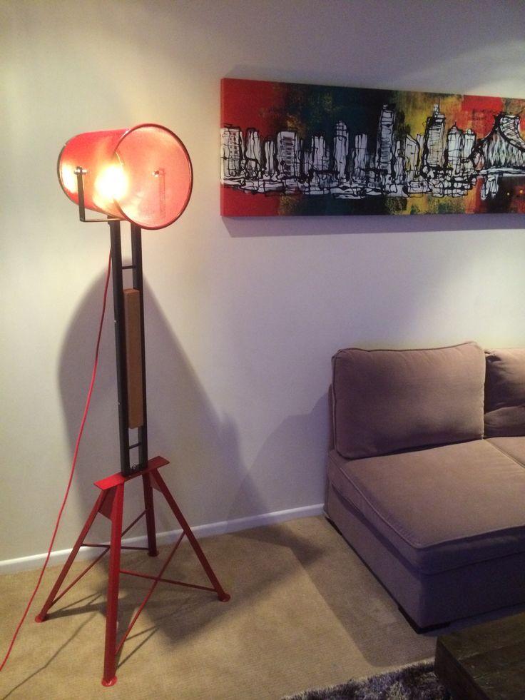 Floor lamp all reclaimed material