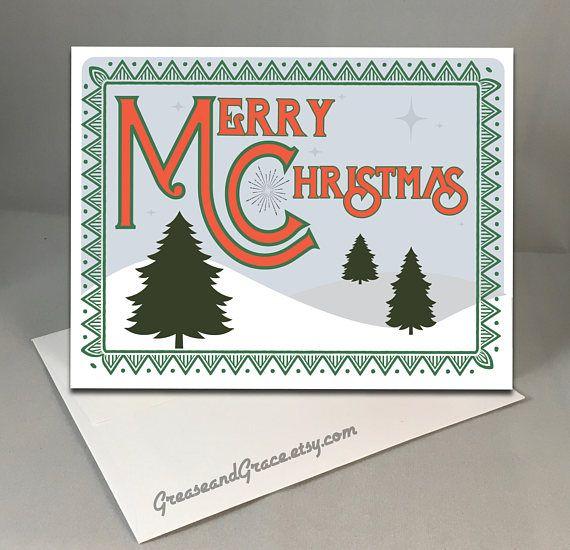 Retro Christmas Card Mid Century Modern Vintage Inspired