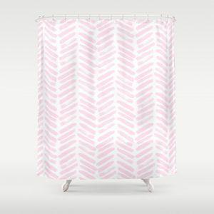Light Pink Chevron Shower Curtain
