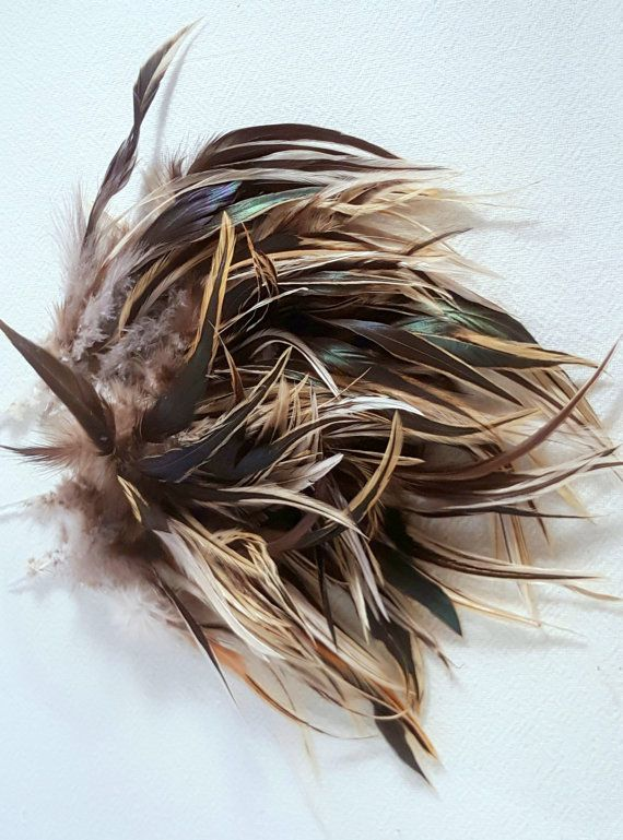 Lot of Brown/Black Rooster Feathers Variegated with by AtticLiving
