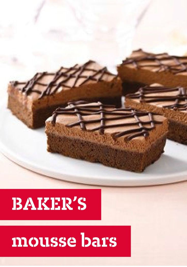 BAKER'S Mousse Bars – These BAKER'S Mousse Bars offer layered ...