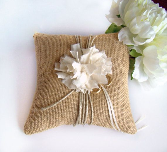 Burlap Ring Bearer Pillow Rustic Wedding Ring by TwiningVines