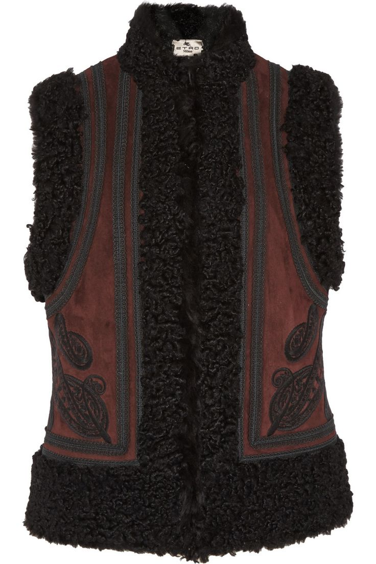 Etro Embroidered suede and shearling vest NET-A-PORTER.COM