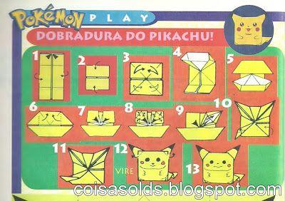 Coisas Olds - Tazos, Cards, Figurinhas e +: Origami Pikachu
