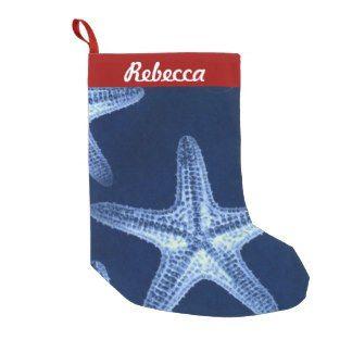 Beachy Christmas Stocking Nautical Blue Starfish