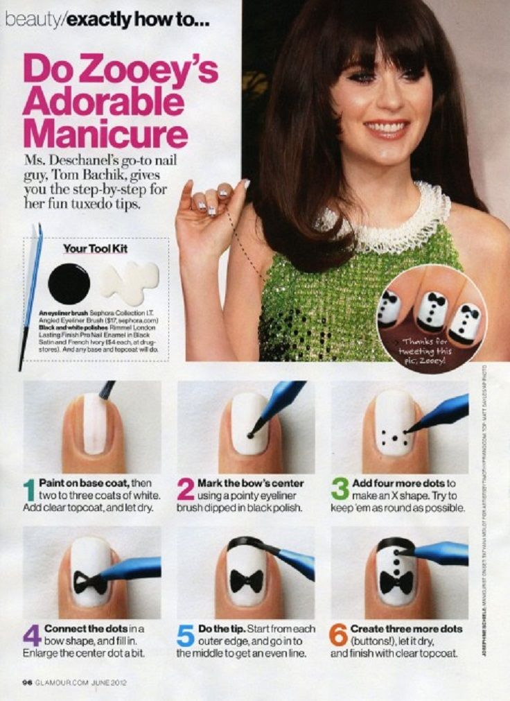 Top 10 Fun and Easy Nail Tutorials and you could use a sharpie for the one on the pic to make it easier