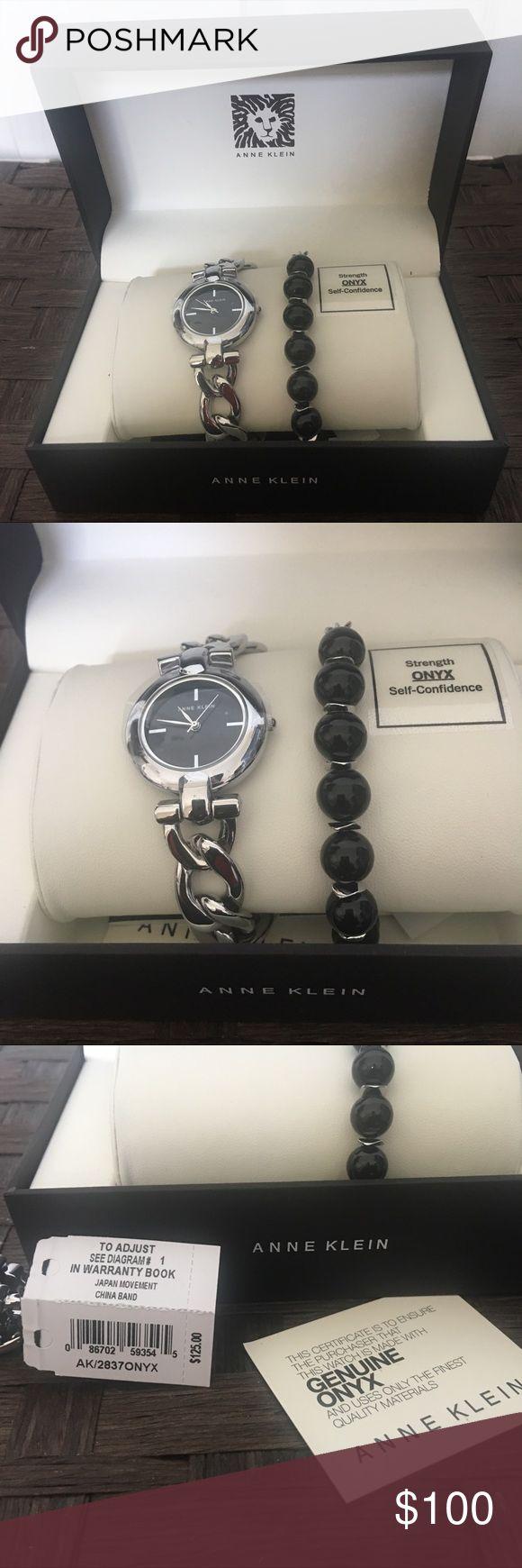 ANNE KLEIN WATCH & BRACELET Anne Klein Ak/2837onyx Womens Silver-tone Watch And Onyx Beaded Anne Klein Accessories Watches