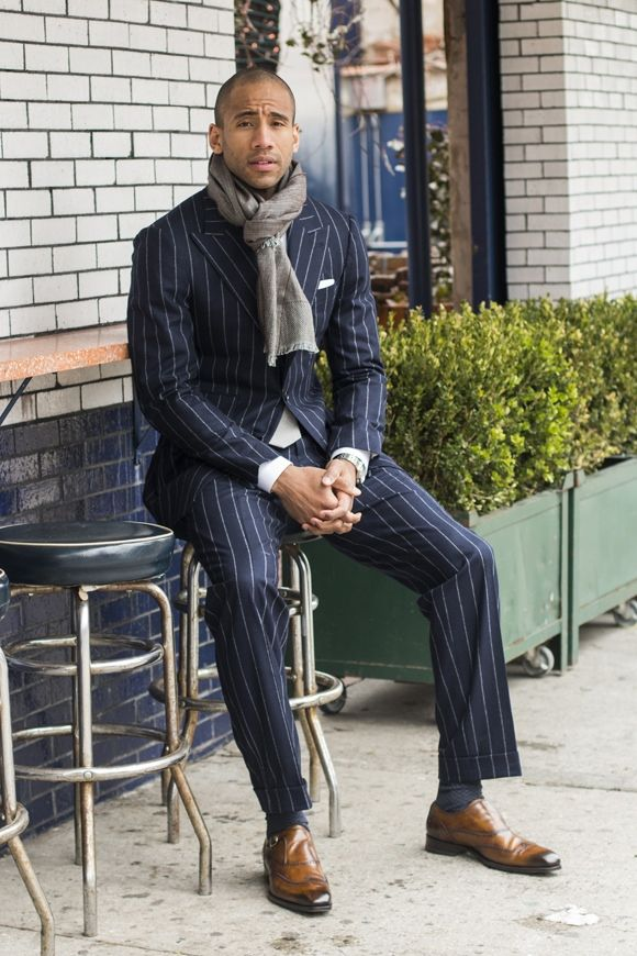 Wear these stripes and camel colored shoes in creative surroundings and not  in formal settings.
