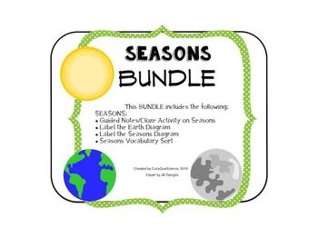 This BUNDLE includes the following: - Guided Notes/Cloze on Seasons - Label the Seasons Diagram - Label the Earth Diagram - Rotation and Revolution Fold and Sort - Seasons Vocabulary Sort  This activity can be used as a whole group, small group and/or individual activity.