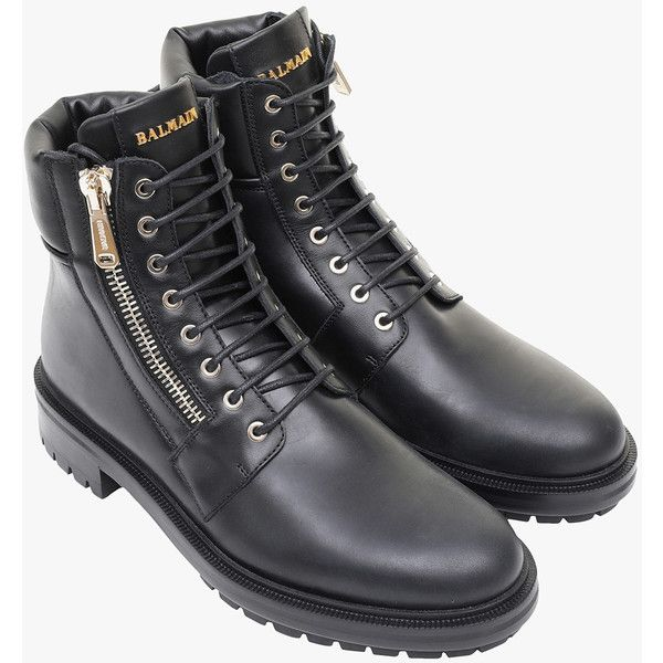 Army smooth leather ranger boots | Mens shoes | Balmain ($1,100) ❤ liked on Polyvore featuring men's fashion, men's shoes, men's boots, men's work boots, balmain mens boots, mens army boots, mens boots and mens work boots