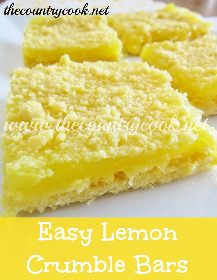 """3-Ingredient Lemon Bars. 1 box yellow cake mix, 1/2 C butter, softened & 1 can lemon pie filling. Combine butter & cake mix till crumbly, SET ASIDE 1/2 C crumbly mixture. Press crumb mixture into 9x13"""" pan. Spoon on lemon pie filling & spread as evenly as possible. Sprinkle on reserved crumble mixture & bake at 350 degrees, 20-25 minutes. Can serve warm, my faovite OR refrigerate. (Can also use ALL the crumb mixture as crust & sprinkle with powdered sugar on top.) Easy & delicious. :)"""
