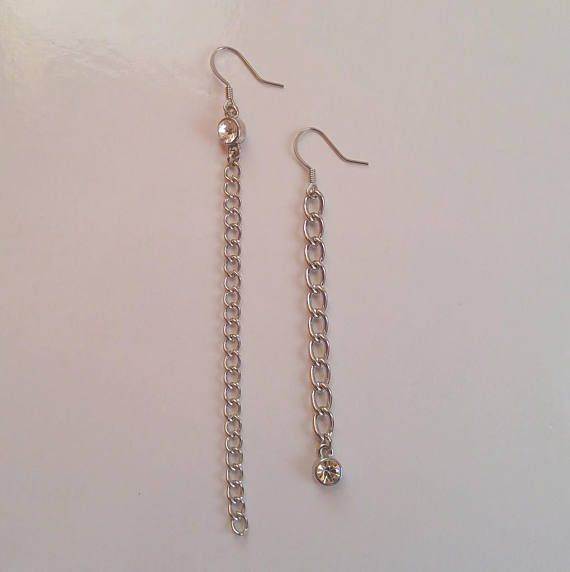 ASYMMETRIC rhinestone chain drop earrings