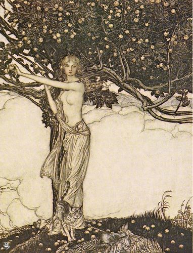 Arthur Rackham, Freya  1910, via Flickr.  (Norse Goddess of fertility - with her cats)