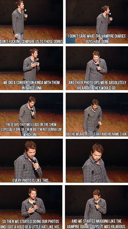 Haha!!  Misha Collins on Mugging like Vampire Diaries / Supernatural