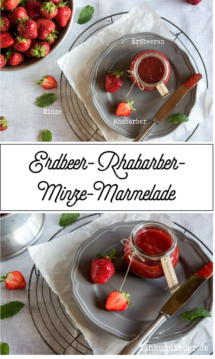 fruchtige erdbeer rhabarber minz marmelade rezepte fink feder. Black Bedroom Furniture Sets. Home Design Ideas