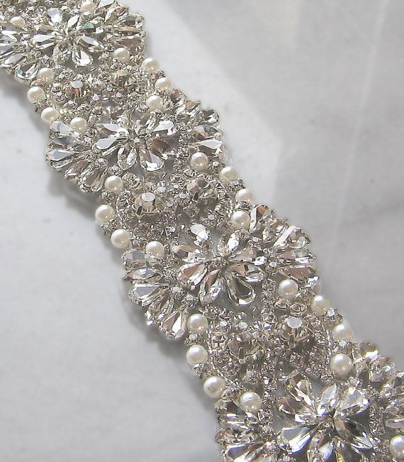 Crystal Rhinestone Trim with Pearls Beaded by TheRedMagnolia, might be a cheaper alternative for a bridal sash although I'm not in love with pearls