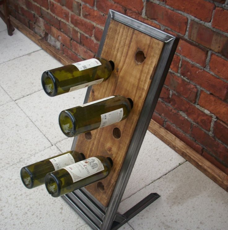 Beautiful handmade unique floorstanding rustic wine rack in wood & metal industrial chic by Redcottagefurniture on Etsy
