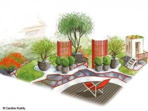 Un jardin zen en rouge et noir jardin zen pinterest for Decoration jardin zen