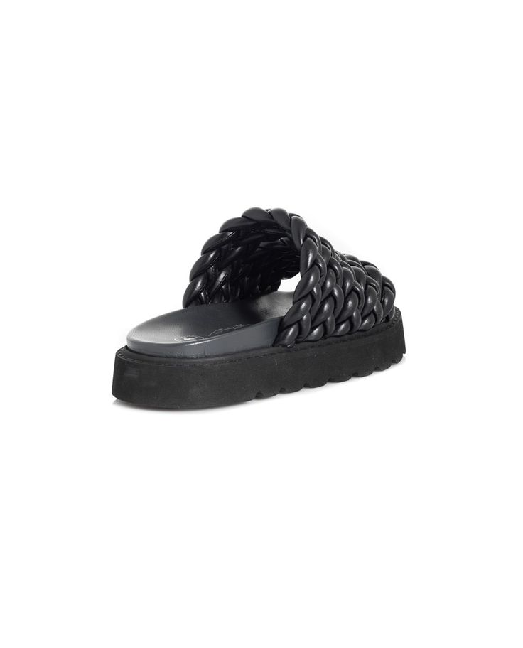 BRUNO BORDESE LEATHER BRAIDED SHOES S/S 2016 Black leather  braided shoes open back black rubber sole