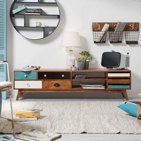 TV bench made of mango wood with multicoloured drawers