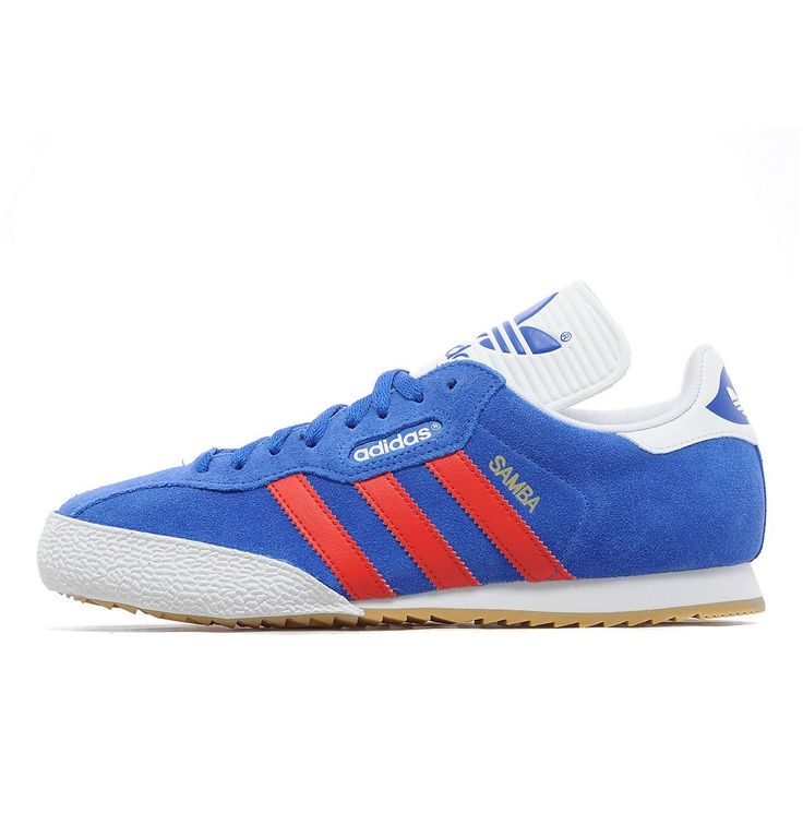 These Adidas Samba Super shoes come in a satellite blue suede upper for a  classic finish and a durable rubber toe guard for protection, plus a  vulcanised ...