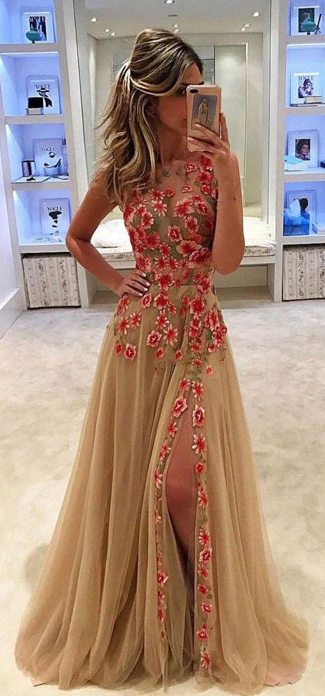 Tulle Prom Dress, Sleeveless Prom Dress, Side Split Prom Dress, A-Line Prom Dress, Applique Prom Dress, KX60 #okbridal #prom
