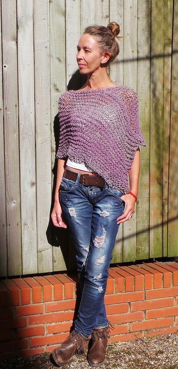 Heather pink Poncho / pink tweed poncho / Luxury merino by ileaiye, $60.00