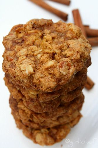 Chewy Oatmeal Cookies with Apples, Pecans, and Cinnamon Chips: Fall Cookies, Chewy Oatmeal, Oatmeal Cookies, Spices Apples, Dry Apples, Apples Butter, Cookies Bar Brownies, Baking Soda, Cinnamon Chips