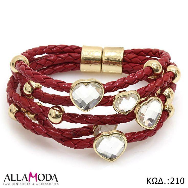 Βραχιόλι χειρός σε Κόκκινο χρώμα, χρυσά Στοιχεία , μαγνητικό Κούμπωμα και διακοσμητικές Καρδούλες. https://www.facebook.com/media/set/?set=a.590076077725316.1073741839.540689855997272&type=3