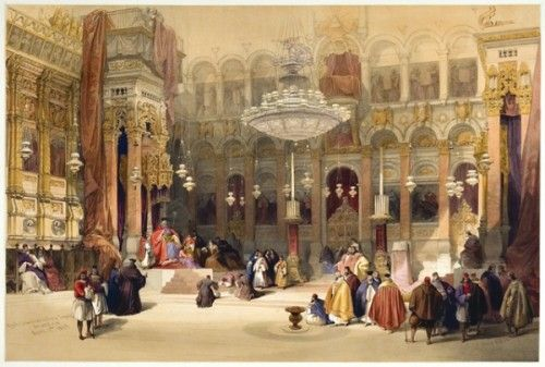 ROBERTS, David and Louis HAGUE. Greek Church of the Holy Sepulchre, Jerusalem, April 11th 1839. #holyland