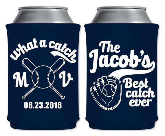 Wedding Can Coolers Beverage Insulators Koozies Personalized Baseball Wedding…