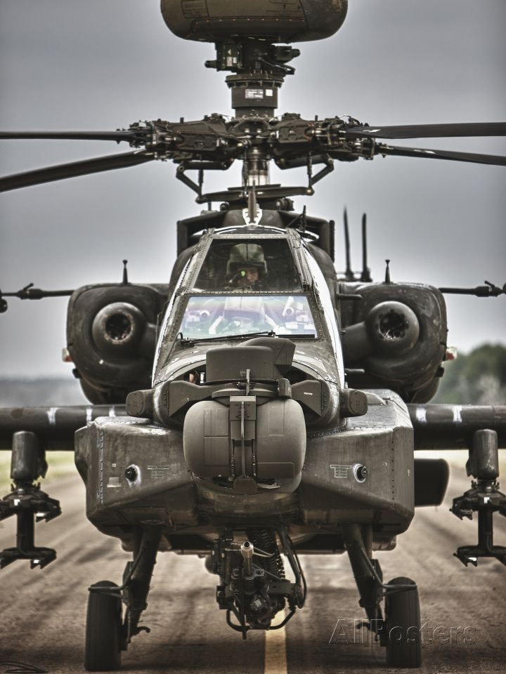High Dynamic Range Image of An AH-64 Apache Helicopter On the Runway Photographic Print at AllPosters.com