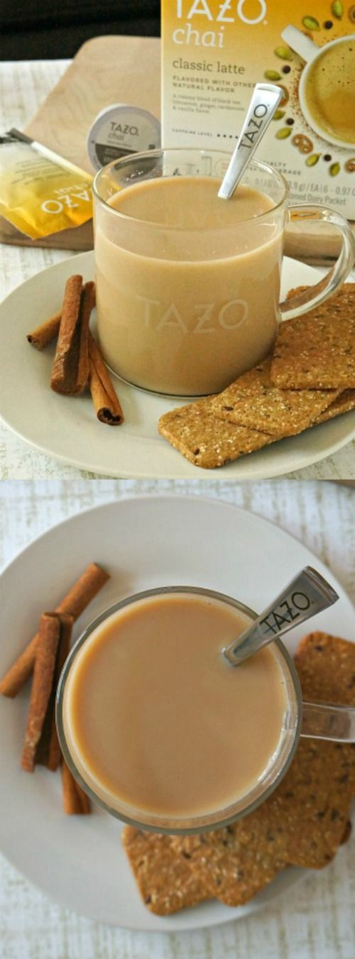 How to make an easy Chai tea latte recipe at home - it's so easy to enjoy the delicious flavors and spices of Chai with Tazo® Chai Tea Latte Kcups