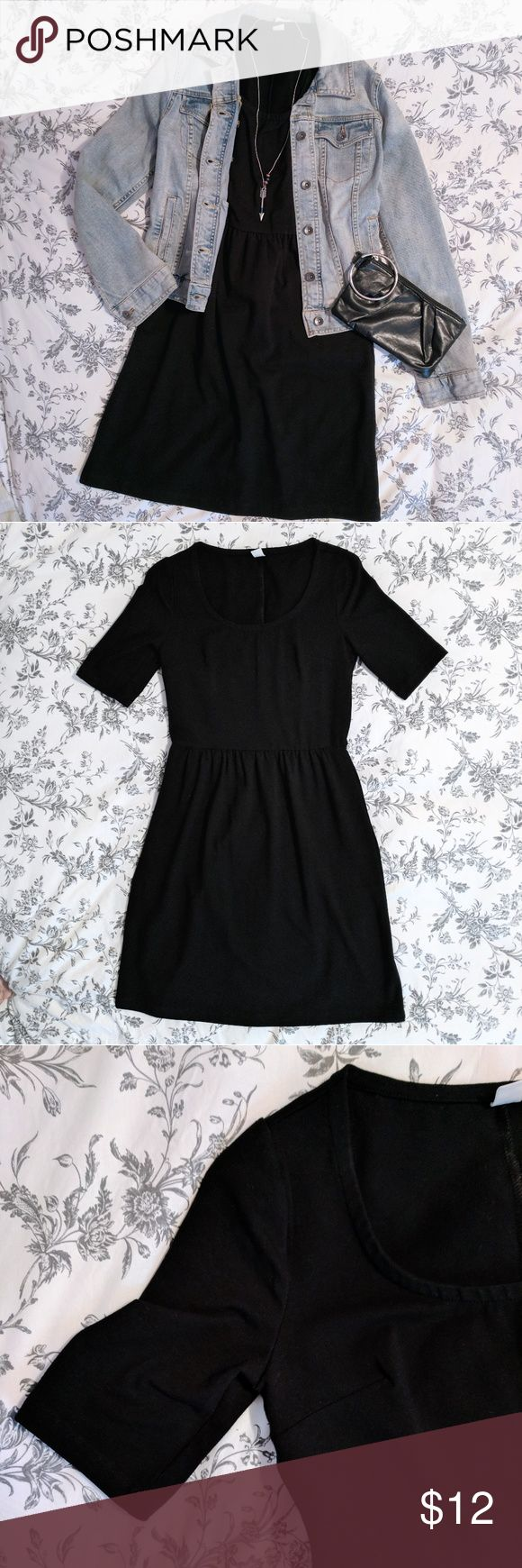 Old Navy Fitted Flare Dress Old Navy fitted flare dress with 3/4 sleeves. Dress is synched at the waist to give a natural hour glass shape. It features a boat neck line and falls above the knee. Only worn once and in great condition. Dress is great for fall and goes great with layers! Offers are welcome. No trades please. **NOTE: denim jacket and accessories are not for sale** Old Navy Dresses Midi