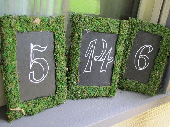 Moss Blackboard Table Markers Garden Shabby Chic Wedding Bridal Sweet Sixteen Decoration Rustic READY TO SHIP