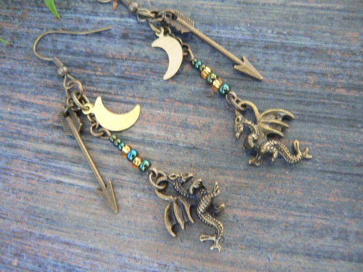 green dragon earrings, fantasy earrings, cosplay earrings, earrings, medieval, moon earrings, Renaissance, festival earrings