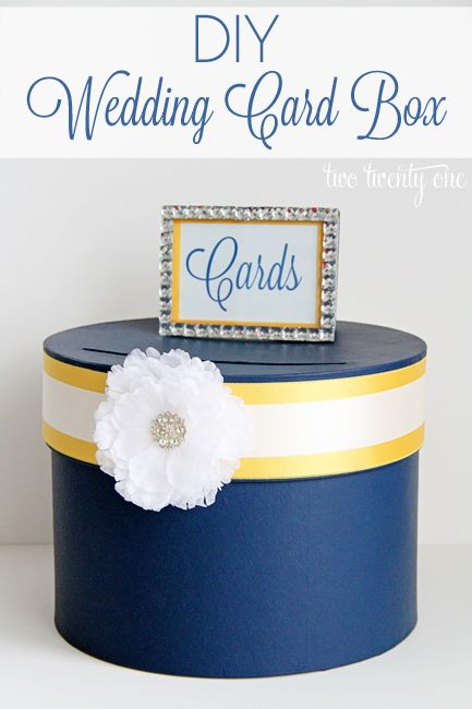 DIY Wedding Card Box~ place on the table with gifts- then you don't have to worry about them falling off the table or being misplaced.