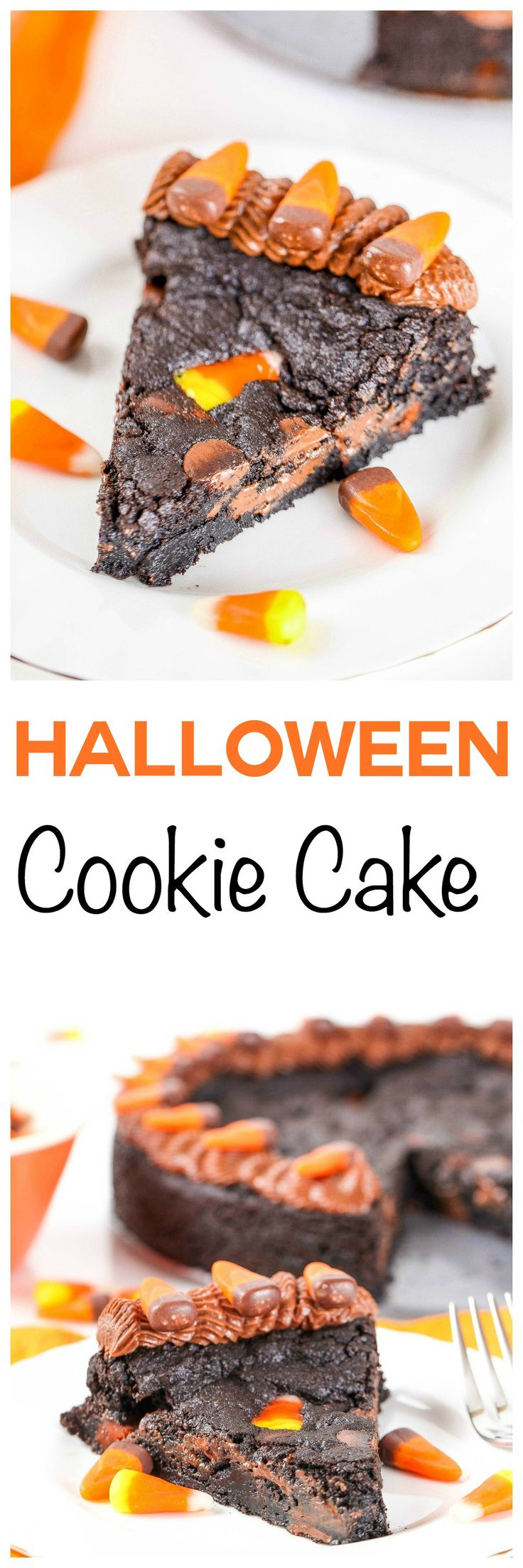 Halloween Chocolate Chip Cookie Cake: Soft and chewy dark chocolate chip cookie cake jam packed full of chocolate chips and candy corn. The perfect colors for Halloween parties!