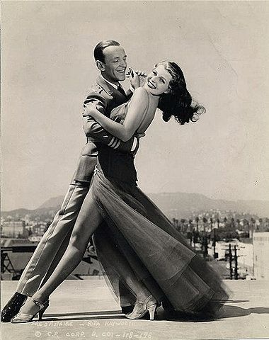 """Astaire and Hayworth-how glamorous! Loved watching old movies on """"Channel 50,"""" especially musicals or at least plenty of dancing. Loved Fred!"""