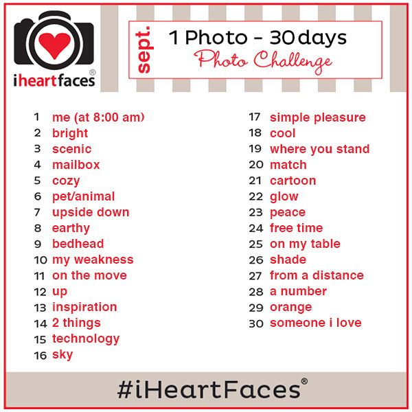 Join the @I Heart Faces   Photography September {1 Photo – 30 Days} Photo Challenge. #iHeartFaces  1  Add photos on Instagram, Twitter, Google+, Pinterest,  or Facebook. 2  Use the hashtag #iHeartFaces 3  Join in one day, 10 days, 23 days or all of the days!  Participate when you are able. 4  Photos can be taken with your nice camera, a point-and-shoot or your phone…it's all good!