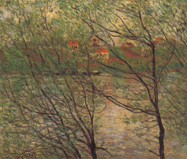 Reproduction de Monet, Ile de la grande jatte depuis la rive. Tableau peint à la main dans nos ateliers. Peinture à l'huile sur toile.
