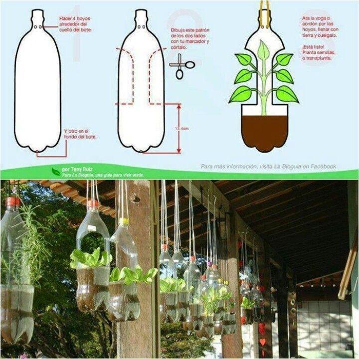 .Plastic Bottle Hanging Planters