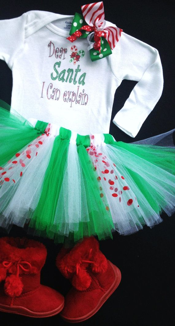 Girls Christmas Tutu,hairbow, long sleeve top sizes 12 months - Girls 5  Red,Green & White Christmas Ship ON TIME