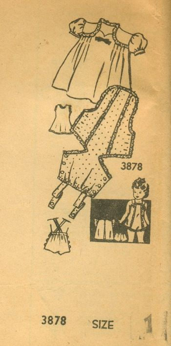 Mail Order 3878; ca. 1940s; Toddler's Dress with Puff or Flare Sleeves, Slip, Panties, and Playsuit with or without Ruffles. [insert your photos of this pattern made up]