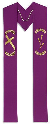 Lenten Embroidered Clergy Stole - Vestments